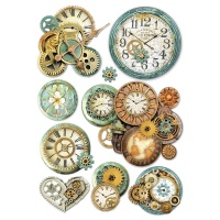 Stamperia A4 Rice Paper - Gearwheels and Clock
