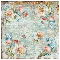 Stamperia Single Napkin in rice paper - White roses and gearwheels