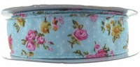 Vintage Flower Dot Wire Edge Ribbon - Duck Egg Blue 1M x 25mm