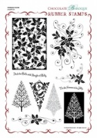 Christmas Flourish Rubber Stamp Sheet - A4