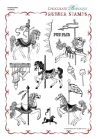 Carousel Horses Rubber stamp sheet - A4