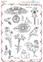 Steampunk Birds Rubber stamp sheet - A4