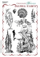 Mermaid Queen Rubber stamp sheet - A5