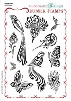 Doodle Birds Rubber Stamp Sheet - A5