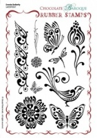 Doodle Butterfly Rubber Stamp Sheet - A5