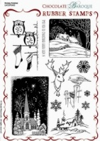 Snowy Scenes Rubber stamp sheet - A5