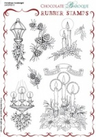 Christmas Candlelight Rubber Stamp sheet - A5
