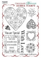 Floral Heart Rubber stamp sheet - A6