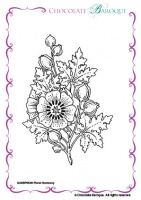 Floral Harmony single Rubber stamp  - A6