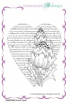 French Heart individual unmounted rubber stamp  - A6