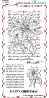 Poinsettia Script Rubber Stamp Sheet - DL
