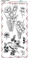 Spring Bird Daffodil Rubber Stamp sheet - DL