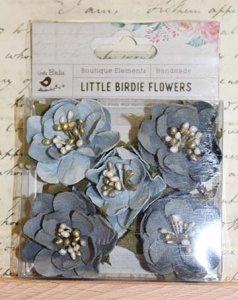 Little Birdie Flowers - Desiree Grey Sky 5pcs