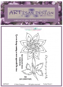 Artisan Design - Funky Floral 3 unmounted rubber stamp set A6