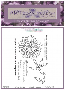 Artisan Design - Funky Floral 5 unmounted rubber stamp set A6