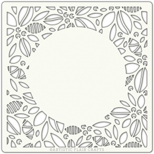 Artistic Flair 152 Range (6''x6'')  - Modern Holly Border stencil template