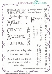 Amazing Mackintosh Words Rubber stamp  - A6