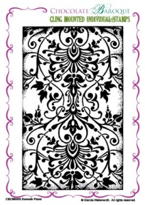 Damask Panel cling mounted rubber stamp