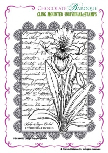 Ladys Slipper Orchid cling mounted rubber stamp
