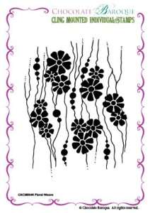 Floral Weave cling mounted rubber stamp