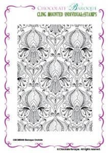 Baroque Orchids cling mounted rubber stamp