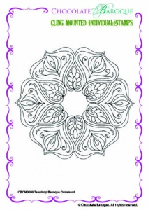 Teardrop Baroque Ornament Individual cling mounted rubber stamp