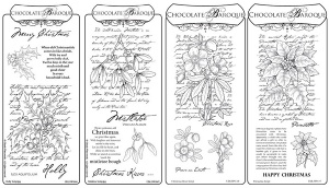 Holly,Mistletoe,Christmas Rose,Poinsettia Scripts Rubber stamps Multi-buy - DL