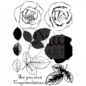 DaliART  Rose Layered Clear Stamp Set