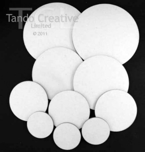 Tando Creative - White Lined Chipboard Circles - Grab Bag pack of 10