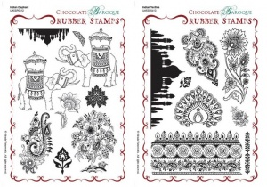 Indian Elephant/Indian Textiles Rubber stamp Multi-buy - A5