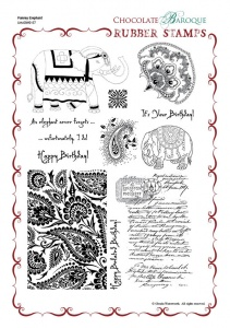Paisley Elephant Rubber stamp sheet - A4