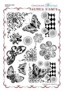 Butterfly Daisy Collage Rubber Stamp Sheet - A4