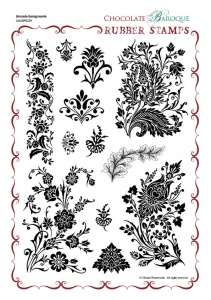 Brocade Backgrounds Rubber Stamp Sheet - A4