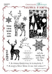 Damask Reindeer Rubber Stamp Sheet - A4