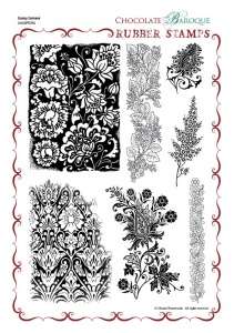 Dusky Damask Rubber stamp sheet - A4