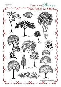 Fantasy Woodland Rubber stamp sheet - A4
