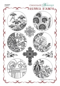 Artists Baubles Rubber stamp sheet - A4