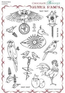 Steampunk Birds Rubber stamp sheet - A4