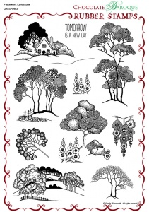 Patchwork Landscape Rubber stamp sheet - A4