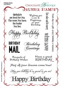 Birthday Words Rubber Stamp Sheet - A5