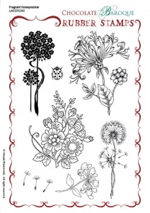 Fragrant Honeysuckle Rubber Stamp sheet - A5