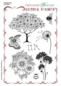 The Rose Tree Rubber Stamp sheet - A5