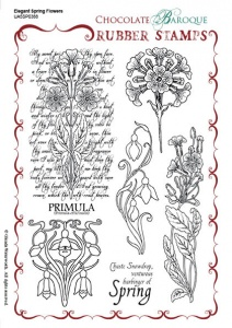 Elegant Spring Flowers Rubber Stamp sheet - A5