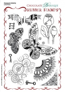 Steampunk Butterfly Rubber stamp sheet - A5