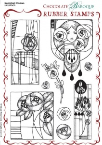 Mackintosh Windows Rubber stamp sheet - A5