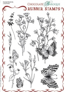 Harebell Butterfly Rubber stamp sheet - A5