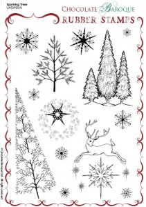 Sparkling Trees Rubber Stamp sheet - A5