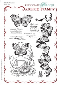 Butterfly Perfumery Rubber Stamp sheet - A5