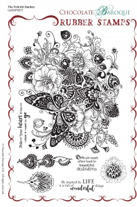 The Folk Art Garden Rubber Stamp sheet - A5
