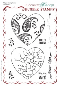 Filigree Trading Hearts Rubber Stamp sheet - A5